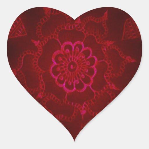 Dark Blood Mehndi Heart Sticker
