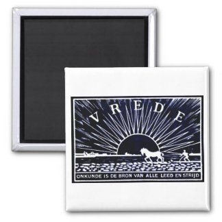 Dark Blue 1910 Peace Poster 2 Inch Square Magnet