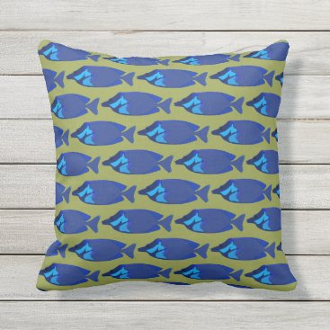 Beach Themed Dark Blue Abstract Tropical Fish Green Background Outdoor Pillow