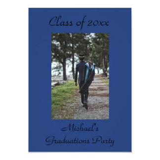 Dark Blue Add photo Graduation Invitation