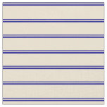 [ Thumbnail: Dark Blue and Beige Colored Lines Fabric ]
