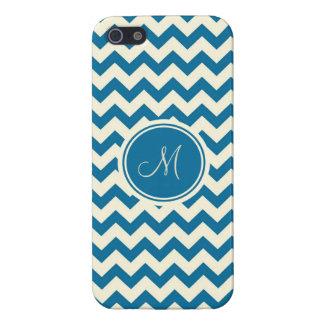 Dark Blue And Beige Retro Chevron Monogram Case For iPhone SE/5/5s