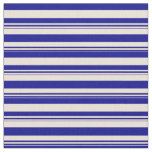 [ Thumbnail: Dark Blue and Bisque Colored Pattern of Stripes Fabric ]