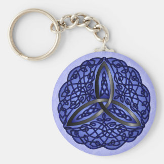Dark Blue and Black Celtic Art Trinity Knot Keychain