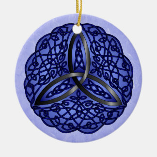 Dark Blue and Black Celtic Art Trinity Knot Double-Sided Ceramic Round Christmas Ornament