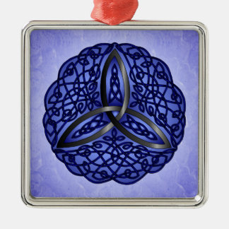 Dark Blue and Black Celtic Art Trinity Knot Square Metal Christmas Ornament