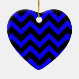 Dark Blue And Black Chevrons Ceramic Ornament
