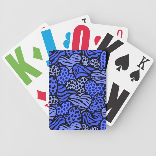 Dark Blue and black girly animal print hearts Bicycle Playing Cards