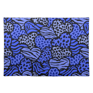 Dark Blue and black girly animal print hearts Placemat