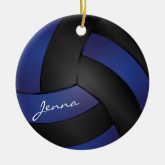 Dark Blue and Black Personalize Volleyball Ceramic Ornament