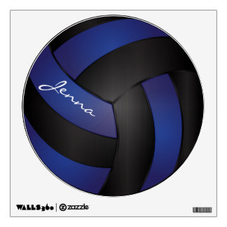 Dark Blue and Black Personalize Volleyball Room Decal
