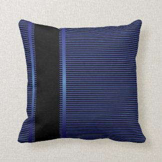 Dark Blue and Black Pin Stripes Throw Pillow