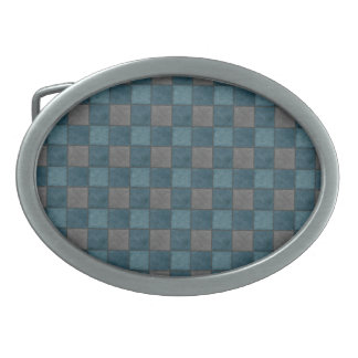Dark Blue and Black Plaid Check Belt Buckle