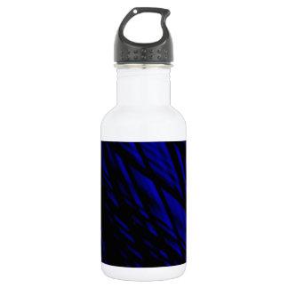 Dark Blue and Black Slanted Lines , Rhombus Stainless Steel Water Bottle