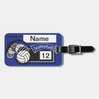 Dark Blue and Black Sporty Volleyball Tags For Luggage