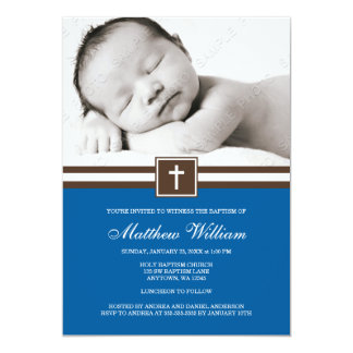 Dark Blue and Brown Cross Boy Photo Baptism Card