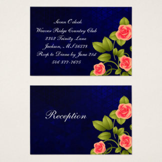 Dark Blue and Coral Rose Flower Wedding Collection Business Card