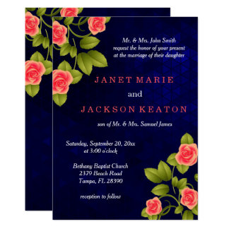 Dark Blue and Coral Rose Flower Wedding Collection Card