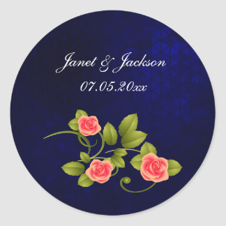 Dark Blue and Coral Rose Flower Wedding Collection Classic Round Sticker