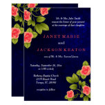 Dark Blue and Coral Rose Wedding Card