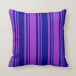 [ Thumbnail: Dark Blue and Dark Orchid Lines Pattern Pillow ]