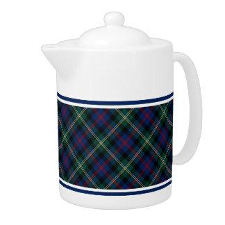 Dark Blue and Forest Green Malcolm Clan Tartan Teapot