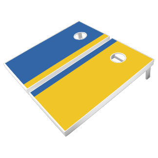 Dark Blue and Gold Add Your Logo Cornhole Set