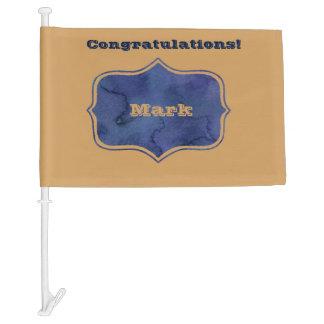 Dark Blue And Gold Congratulations Flag Car Flag