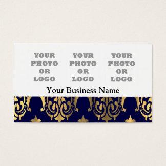 Dark blue and gold damask photo logo business card