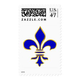 Dark blue  and gold fleur de lis postage stamp