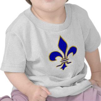 Dark blue and gold fleur de lis tee shirts