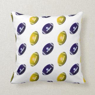 Dark Blue and Gold Football Pattern Pillows
