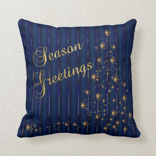 Dark blue and gold star christmas tree throw pillows zazzle for Blue and gold pillows