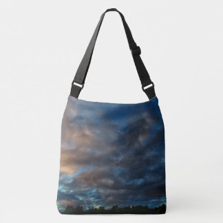 Dark Blue and Gold Sunrise Sky Crossbody Bag