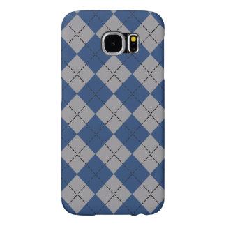 Dark Blue and Gray Argyle Samsung Galaxy S6 Case