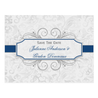 Dark Blue and Gray Damask Save The Date Postcard