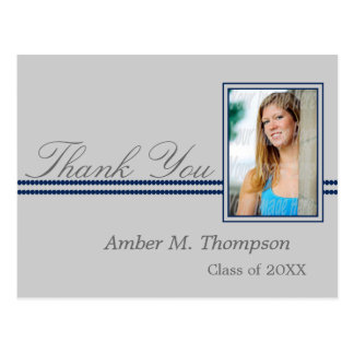 Dark Blue and Gray Graduation Thank You Postcard