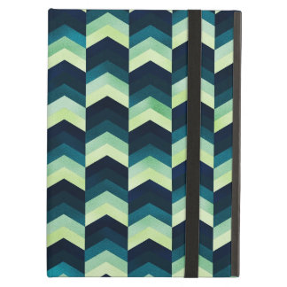 Dark Blue and Green Chevron Pattern iPad Air Cover