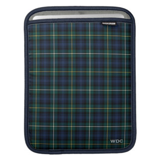 Dark Blue and Green Clan Campbell Tartan Monogram Sleeve For iPads
