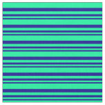 [ Thumbnail: Dark Blue and Green Colored Pattern of Stripes Fabric ]