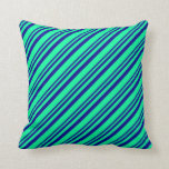[ Thumbnail: Dark Blue and Green Colored Pattern of Stripes Throw Pillow ]