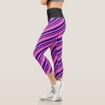 [ Thumbnail: Dark Blue and Hot Pink Colored Lined Pattern Leggings ]