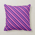 [ Thumbnail: Dark Blue and Hot Pink Colored Lined Pattern Throw Pillow ]