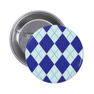 Dark Blue and Light Blue Argyle Pattern Pinback Button