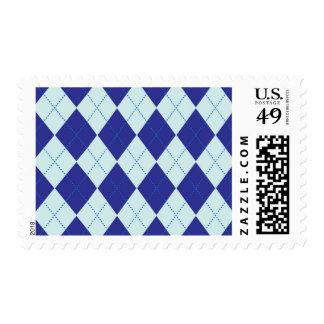 Dark Blue and Light Blue Argyle Pattern Postage