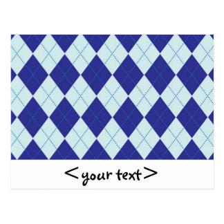 Dark Blue and Light Blue Argyle Pattern Postcard
