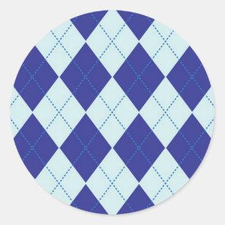 Dark Blue and Light Blue Argyle Pattern Classic Round Sticker
