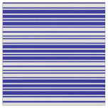 [ Thumbnail: Dark Blue and Light Cyan Lined Pattern Fabric ]