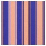 [ Thumbnail: Dark Blue and Light Salmon Pattern of Stripes Fabric ]