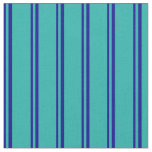 [ Thumbnail: Dark Blue and Light Sea Green Colored Lines Fabric ]